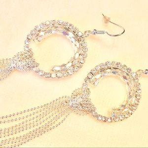 Jewelry - EARRINGS - silver / rhinestone💎circular / tassel